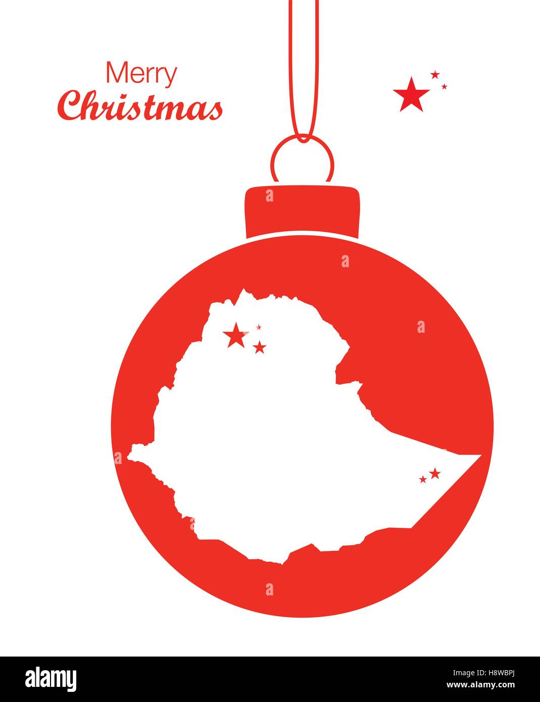 Merry Christmas illustration theme with map of Ethiopia - Stock Vector