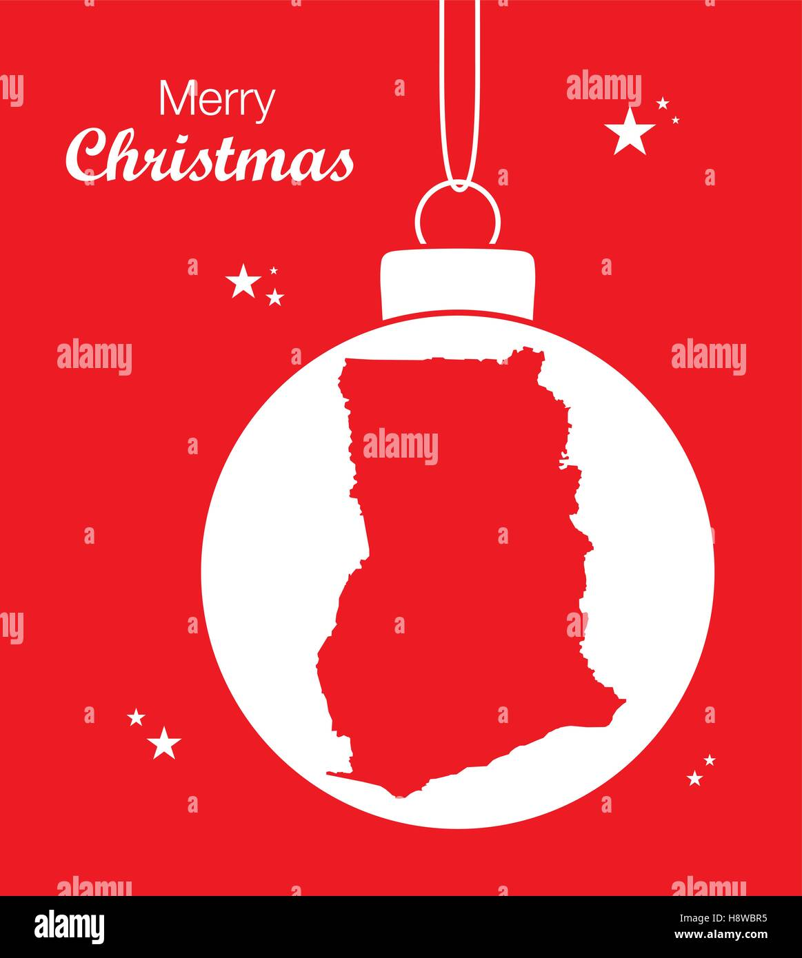 Merry Christmas illustration theme with map of Ghana - Stock Vector