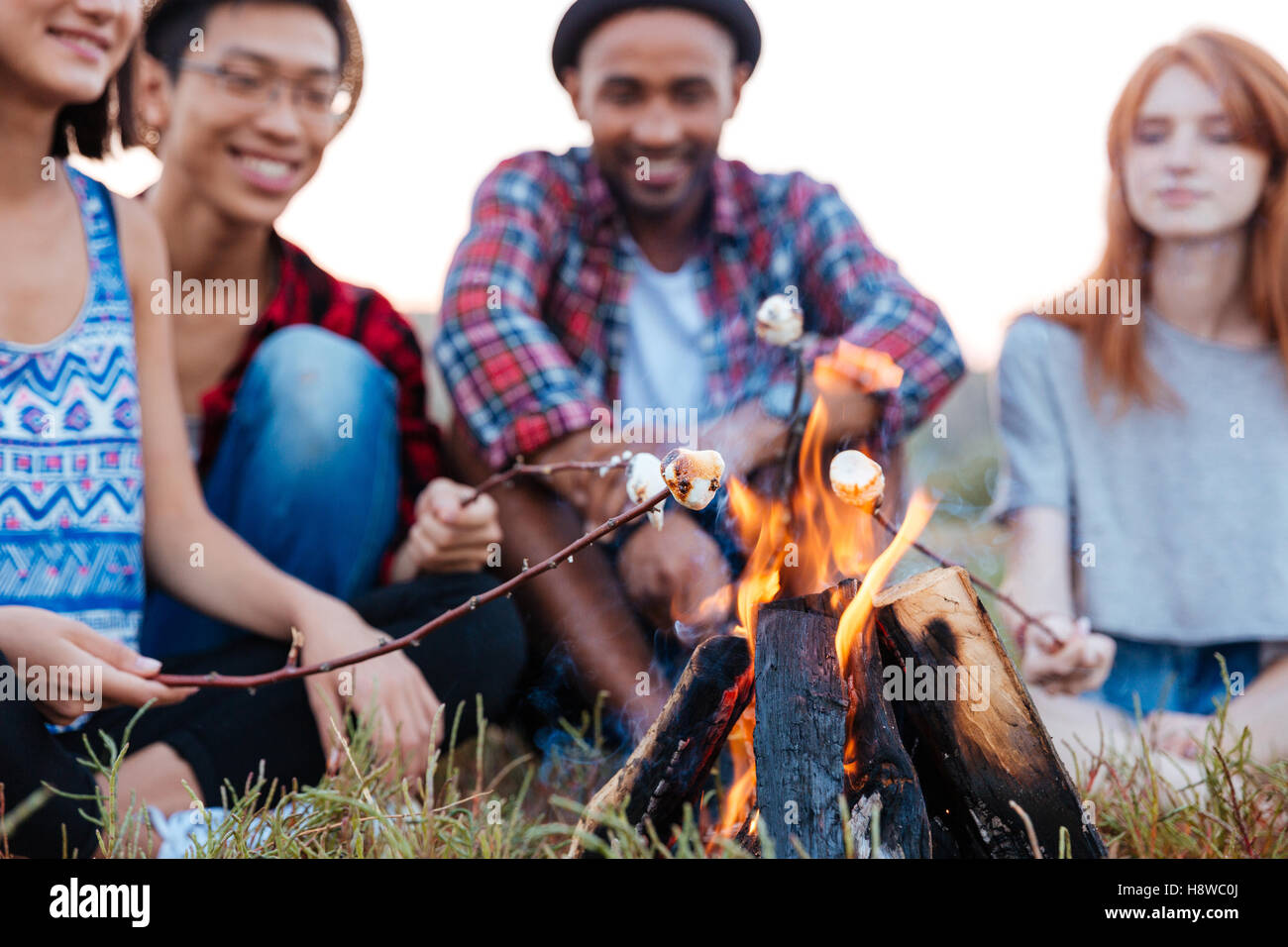 Multiethnic group of of cheerful young people talking and preparing marshmallows on bonfire outdoors in summer - Stock Image