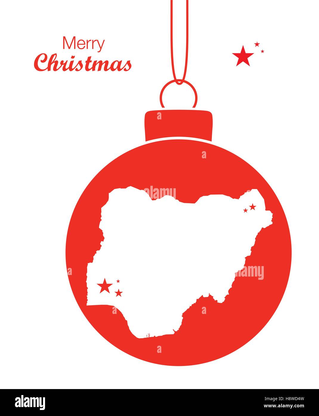Merry Christmas illustration theme with map of Nigeria - Stock Vector