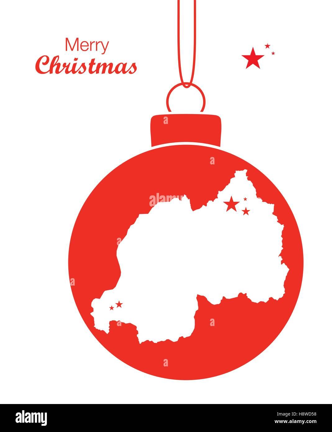 Merry Christmas illustration theme with map of Rwanda - Stock Image