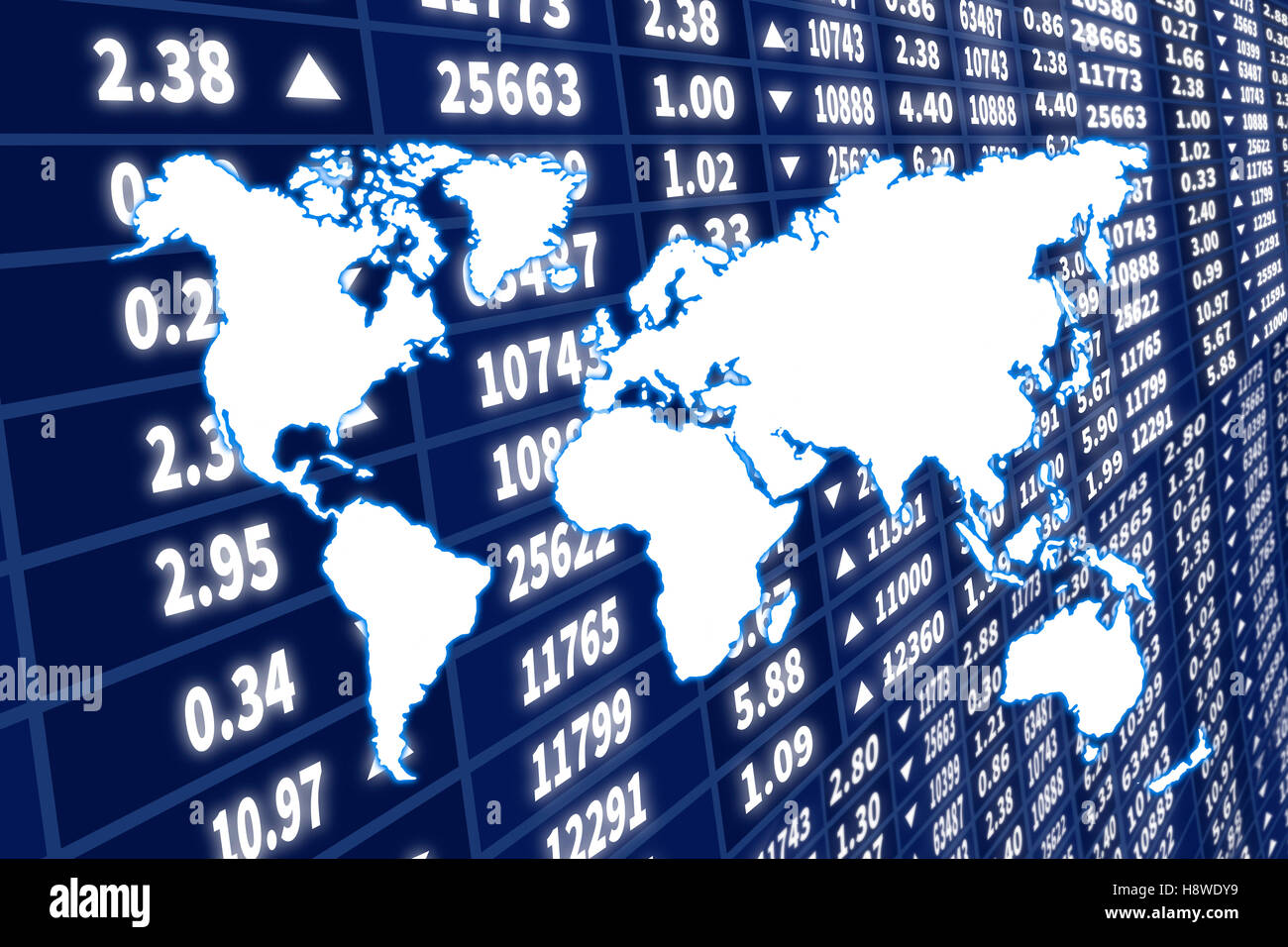 Abstract illustration of world map over stock market dynamic screen - Stock Image
