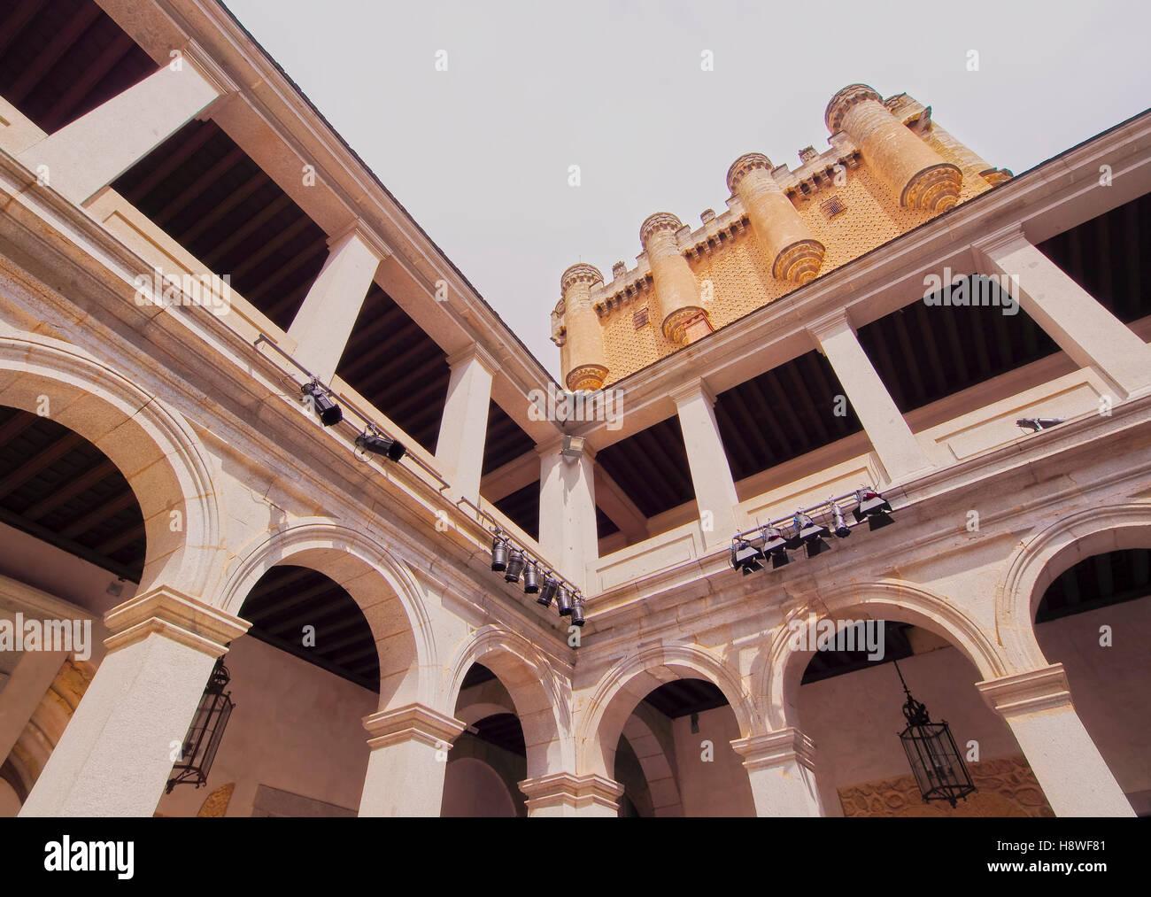 Spain, Castile and Leon, Segovia, View of the Alcazar. Stock Photo