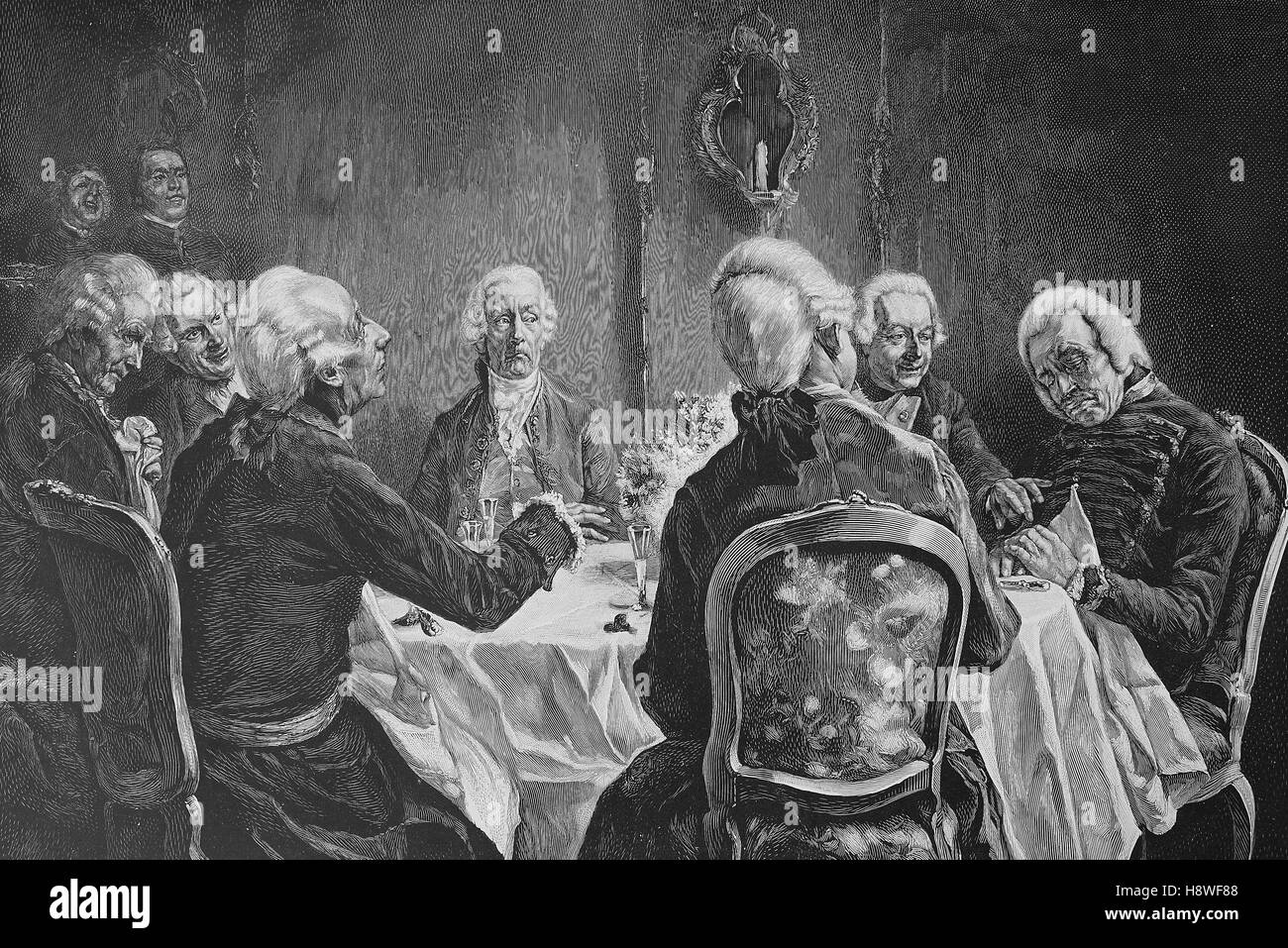 Frederick II, Friedrich was King of Prussia from 1740 until 1786, here on a table together with the sleeping Hans - Stock Image