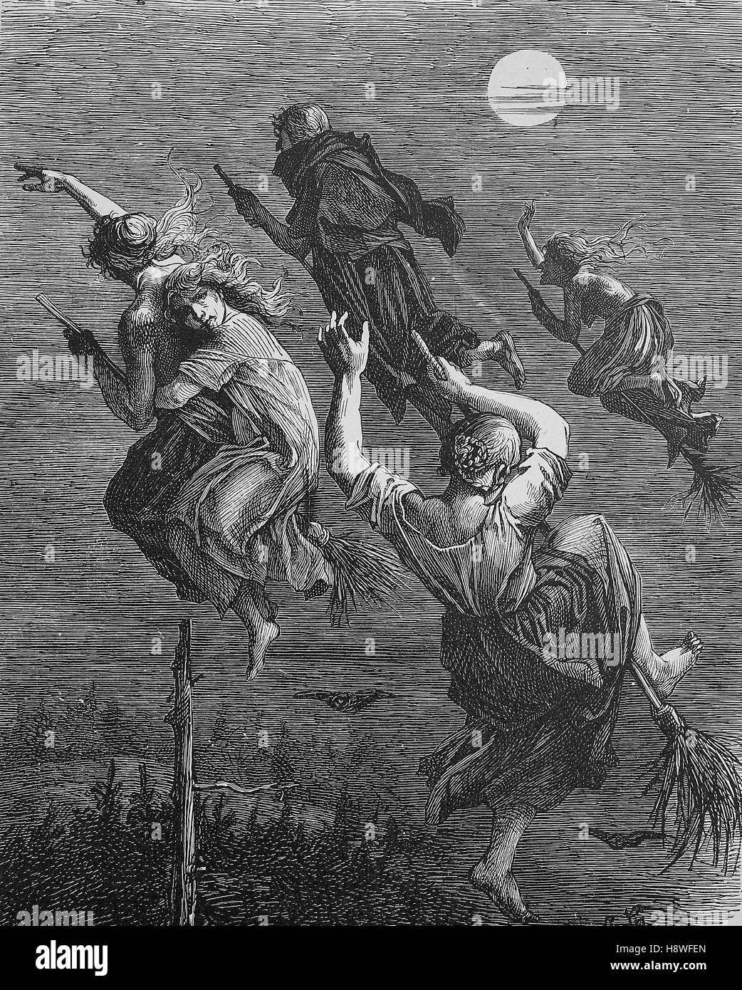 Witches ride on the broom through the night - Stock Image
