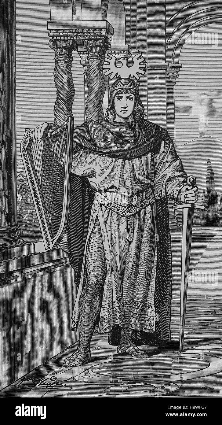 Frederick II was a Holy Roman Emperor, dressed as a Minnesinger - Stock Image