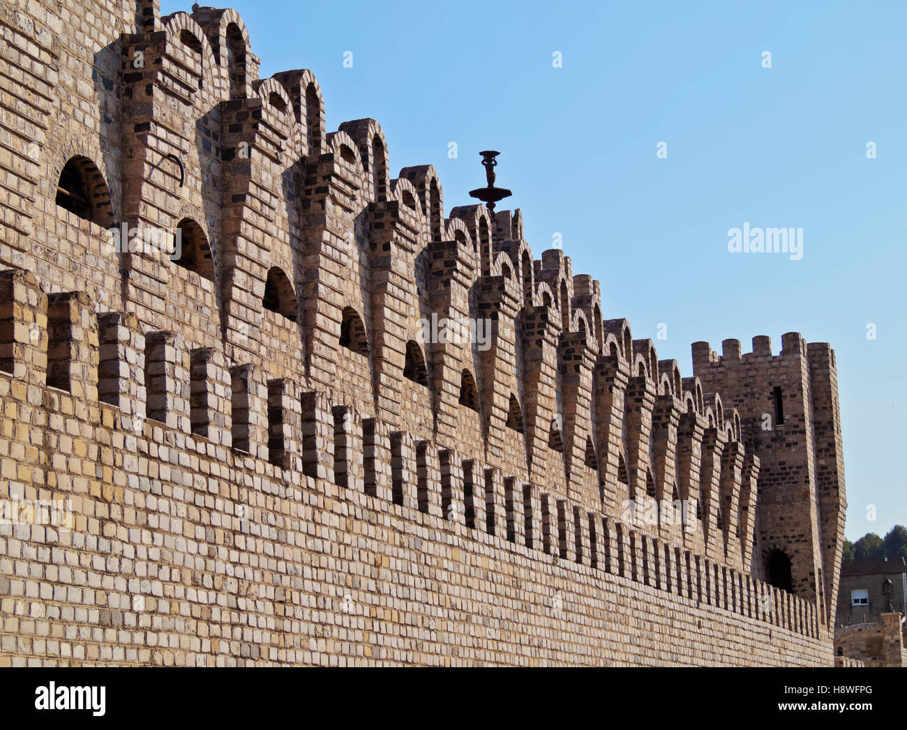 Spain, Catalonia, Barcelona Province, Detailed view of the Les Fonts Castle. - Stock Image