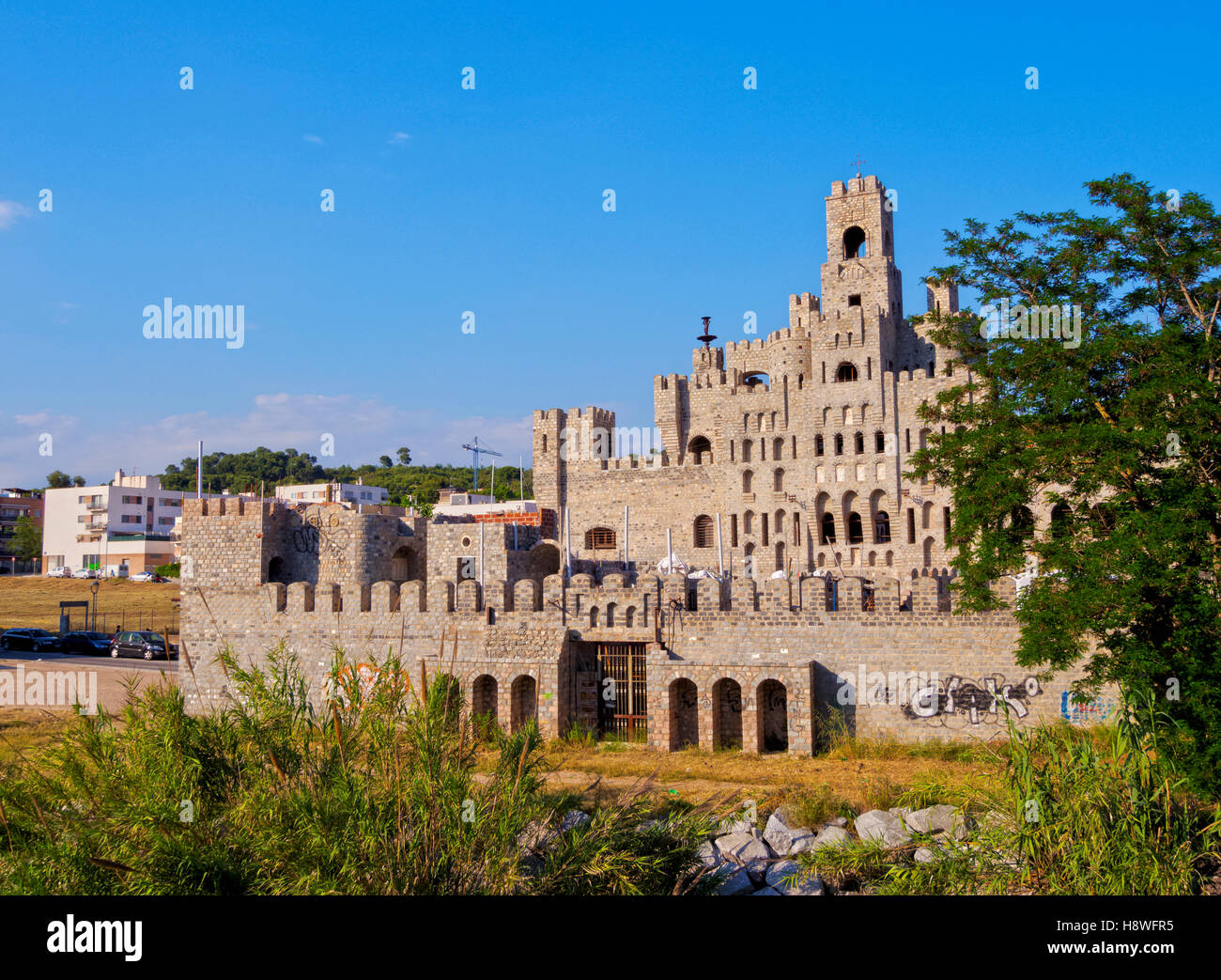 Spain, Catalonia, Barcelona Province, View of the Les Fonts Castle. - Stock Image