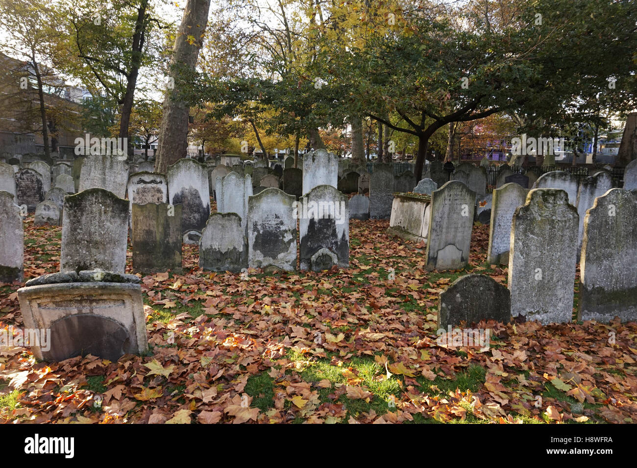 Bunhill Fields Burial Ground Cemetery, London, England, Uk Stock Photo
