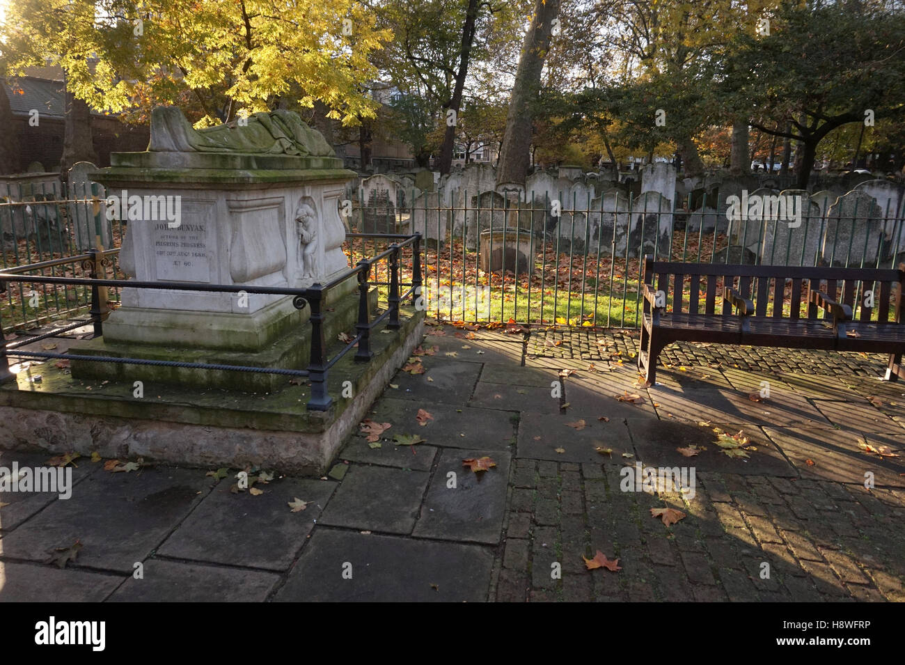 Author of Pilgrim's Progress, John Bunyan's grave Bunhill Fields Burial Ground Cemetery, London, England, - Stock Image