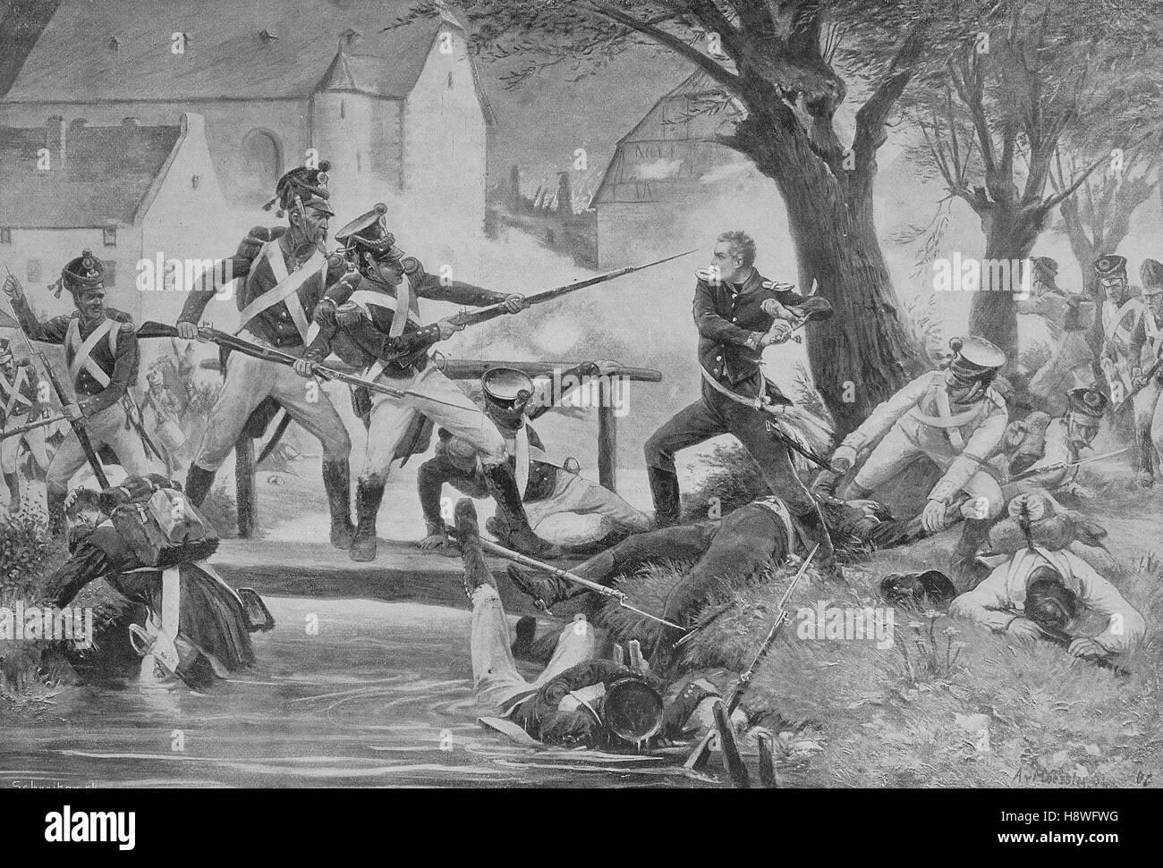 Bogislav Friedrich August von Schmeling at the Battle of Ligny (16 June 1815) - Stock Image