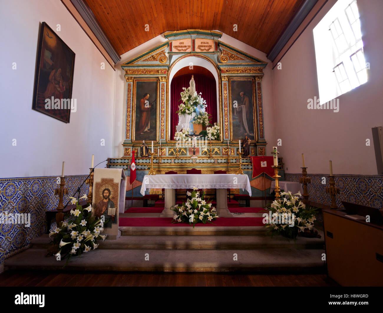 Portugal, Madeira Islands, Porto Santo, Vila Baleira, Interior view of the Church Nossa Senhora da Piedade. - Stock Image