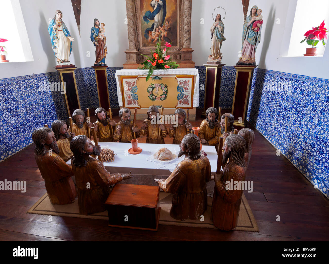 Portugal, Madeira Islands, Porto Santo, Vila Baleira, Interior view of the Church Nossa Senhora da Piedade. - Stock Image