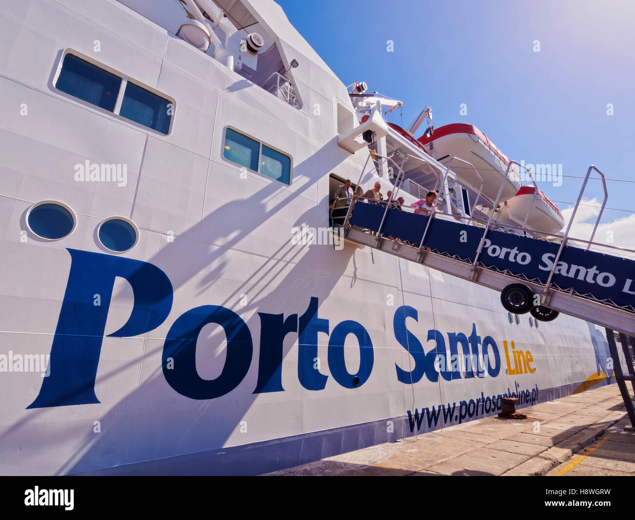 Portugal, Madeira Islands, Porto Santo, View of the Porto Santo Line Ferry in the Porto de Abrigo. - Stock Image