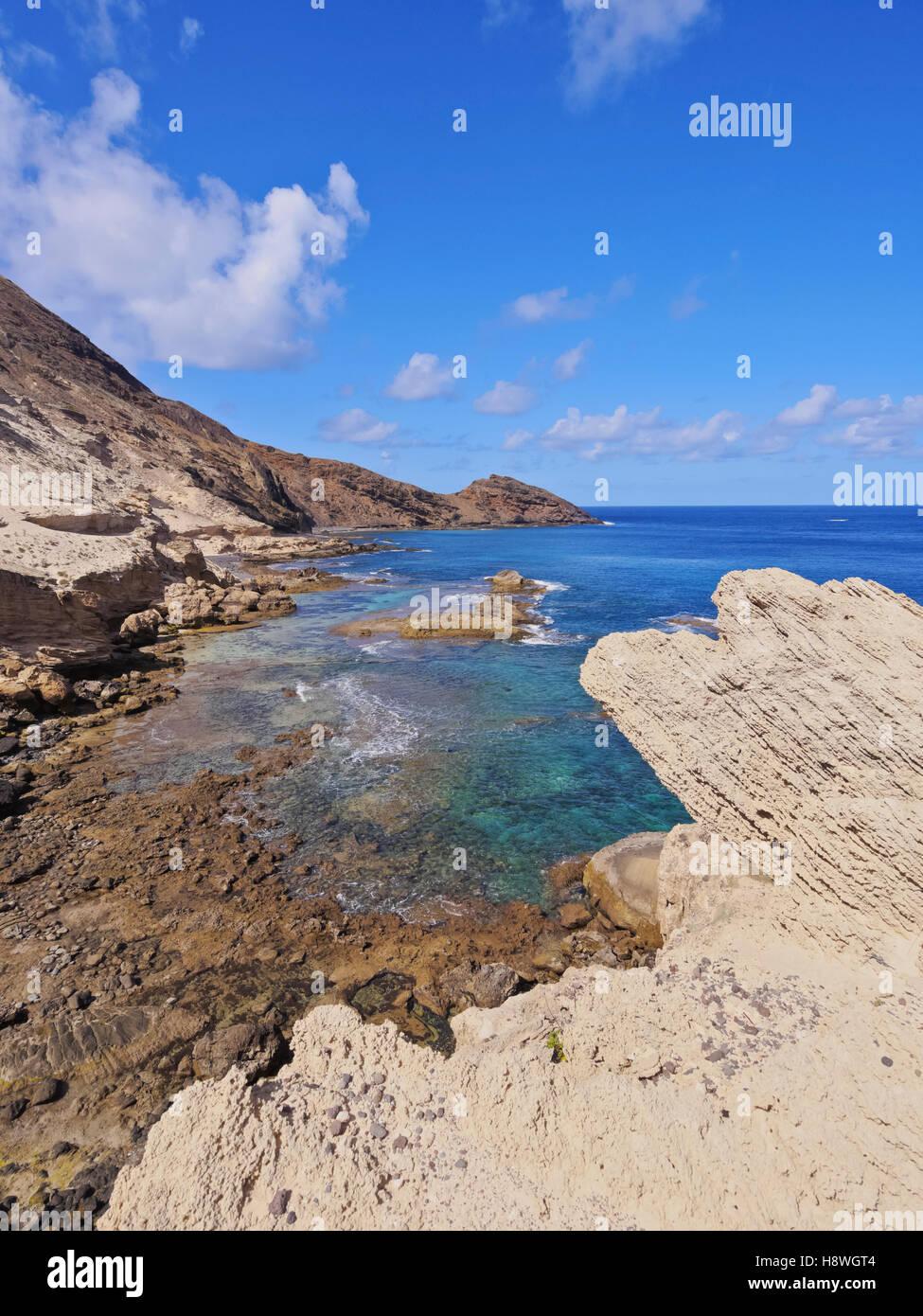 Portugal, Madeira Islands, Porto Santo, View of the shoreline of the island. - Stock Image