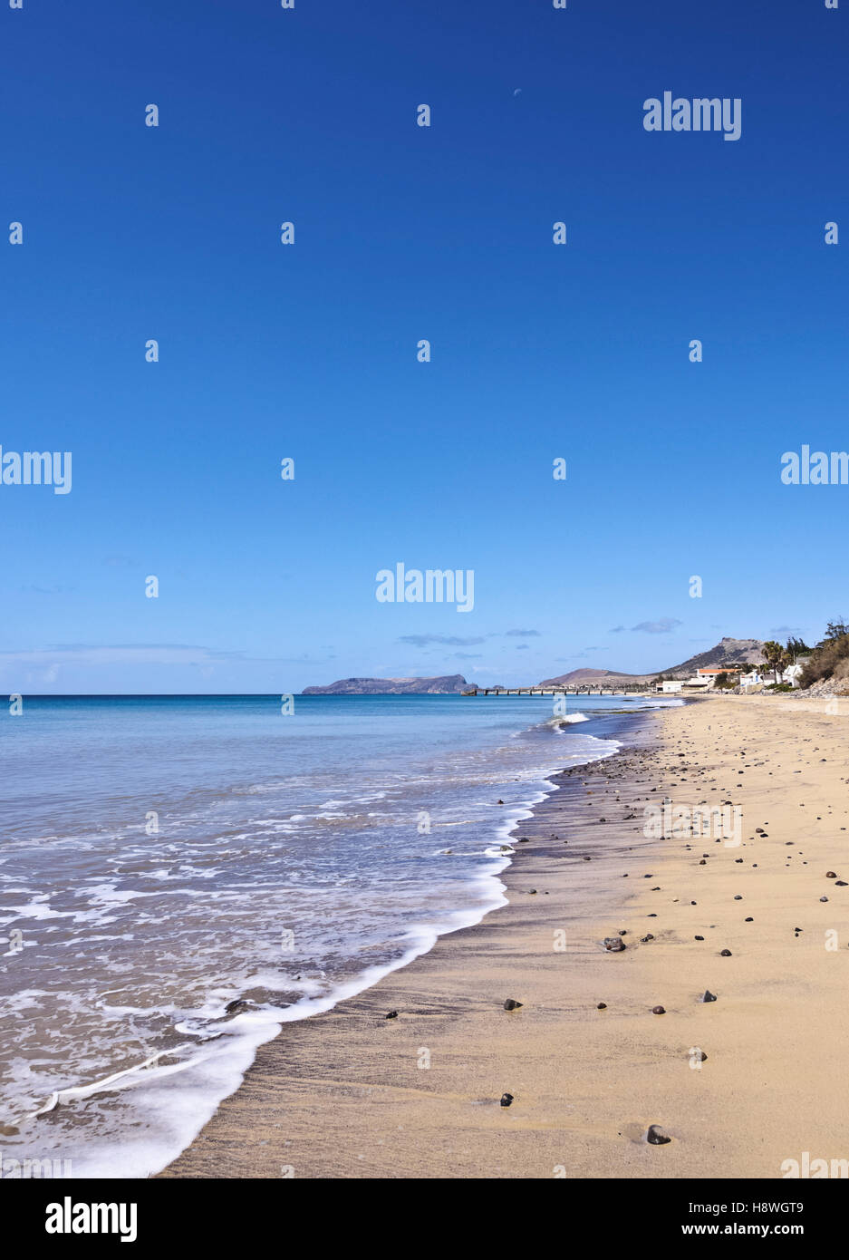 Portugal, Madeira Islands, Porto Santo, View of the sandy beach. - Stock Image