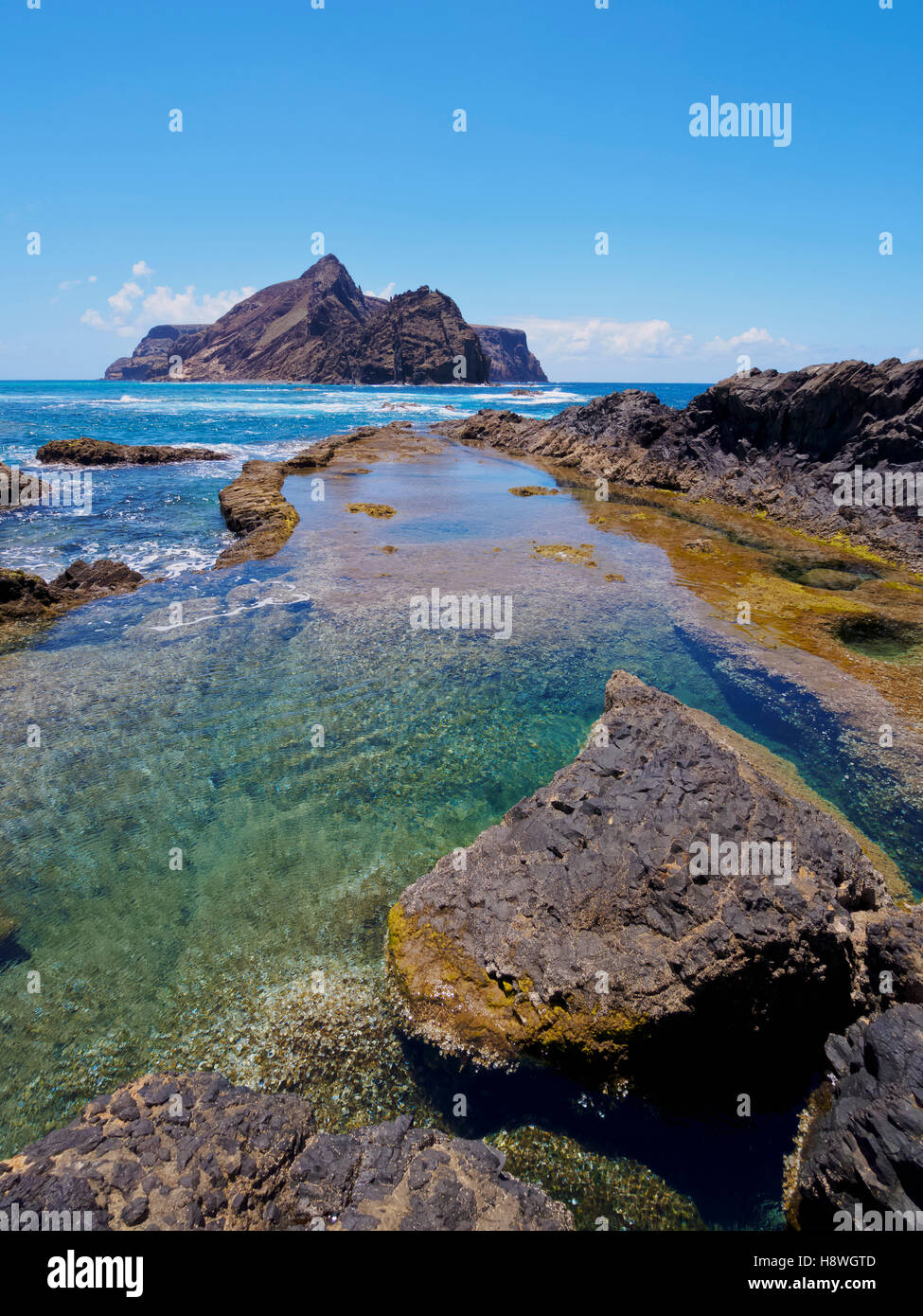 Portugal, Madeira Islands, Porto Santo, Ponta da Calheta, view of the rocky beach of Porto Santo Island. - Stock Image