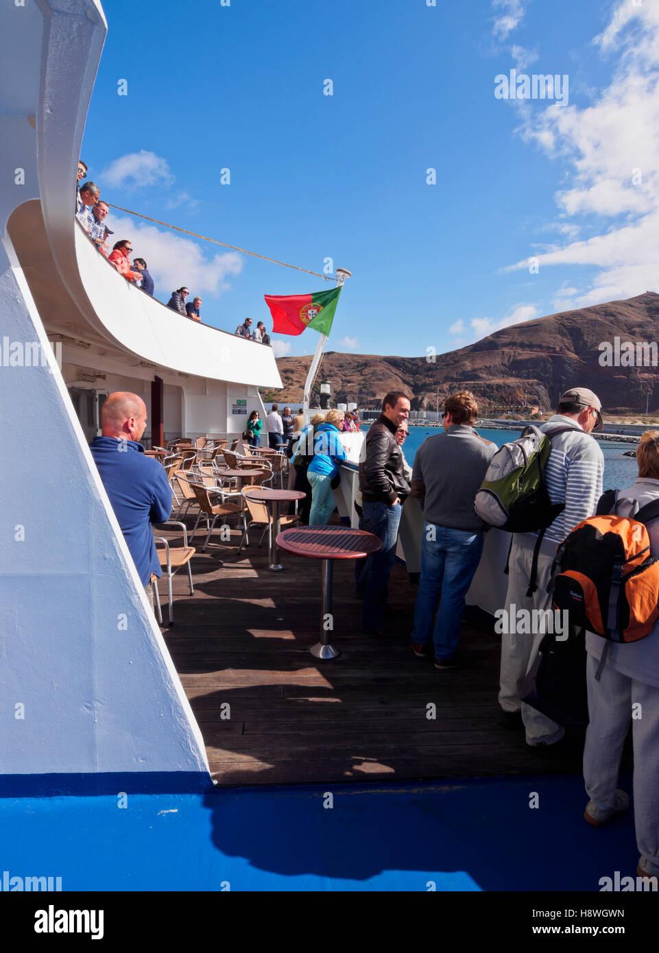 Portugal, Madeira Islands, Porto Santo, View of the Porto Santo Line Ferry in the Porto de Abrigo. - Stock Image