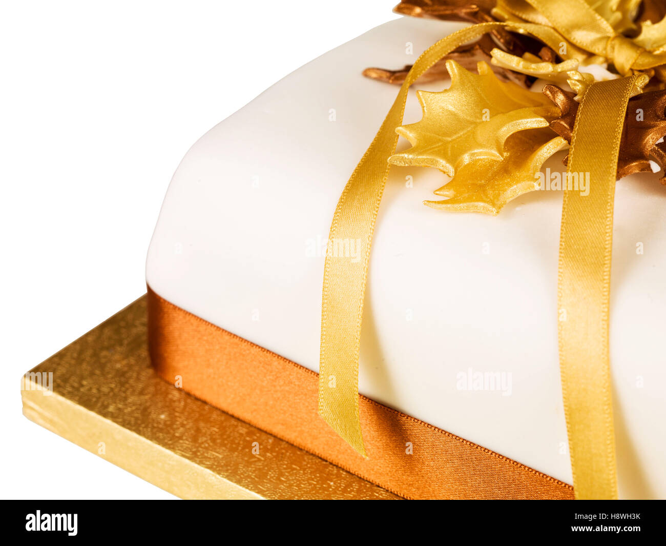 Traditional Iced and Decorated Rich Fruit Christmas Cake - Stock Image