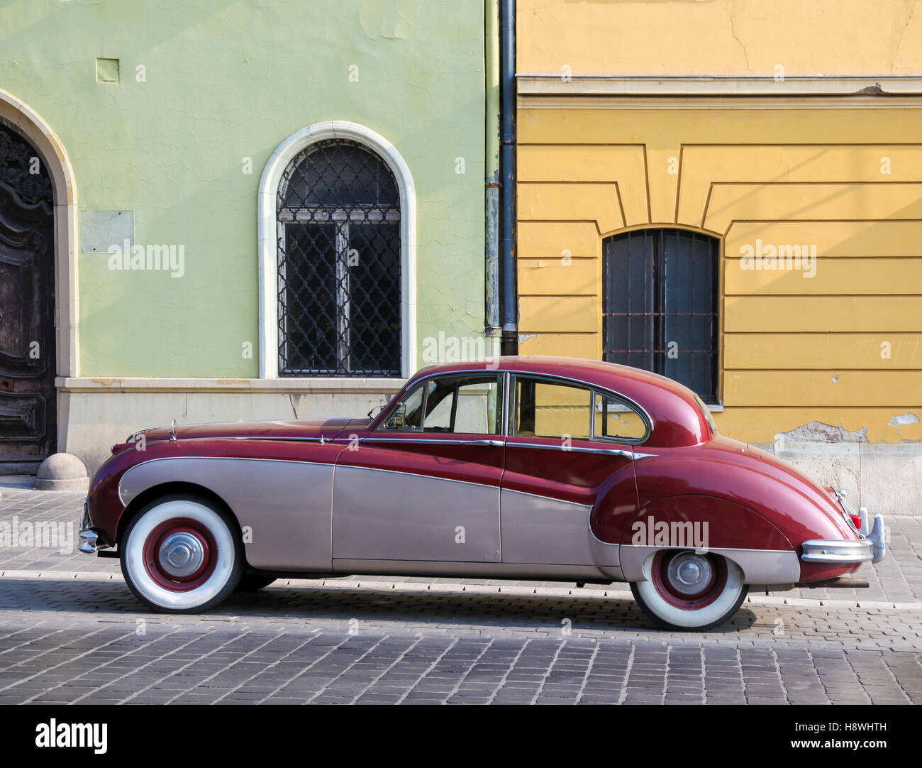 Parked Oldtimer in a street of Budapest, Hungary - Stock Image