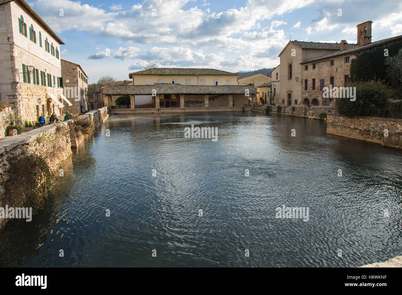 The ancient baths of Bagno Vignoni Tuscany Stock Photo