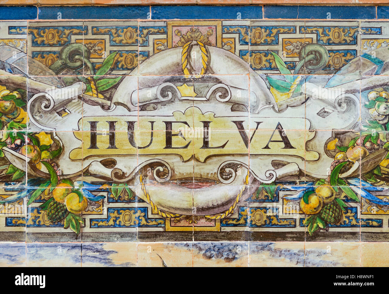 Detail from the tiled bench dedicated to Huelva at  the Plaza de Espana Seville Andalusia Spain - Stock Image
