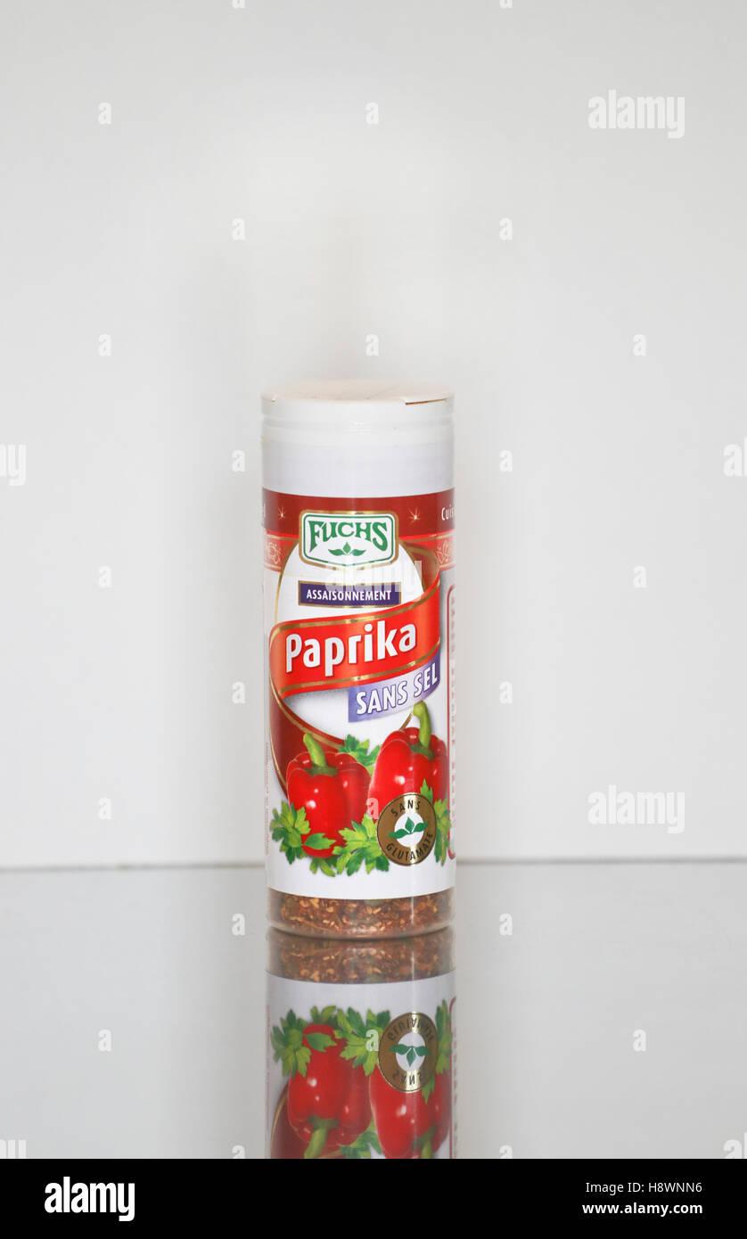 Glass jar of Fuchs paprika Stock Photo