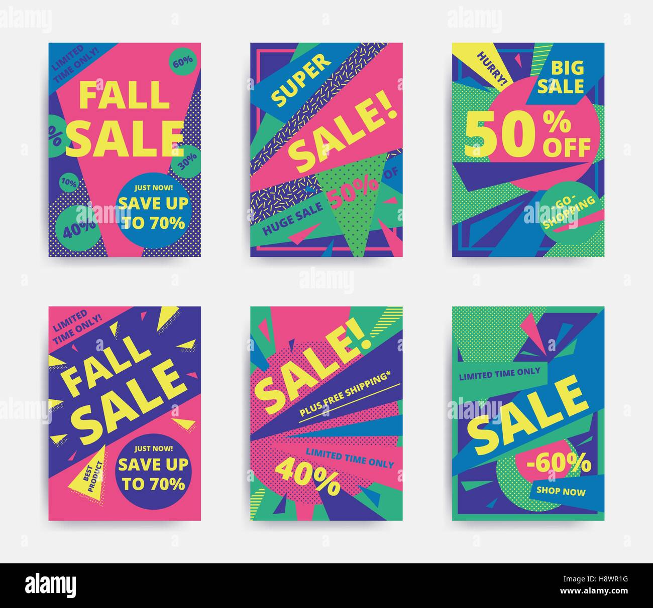 Bright Design Sale Set Website Banner Template Bright Colorful - Email ad template