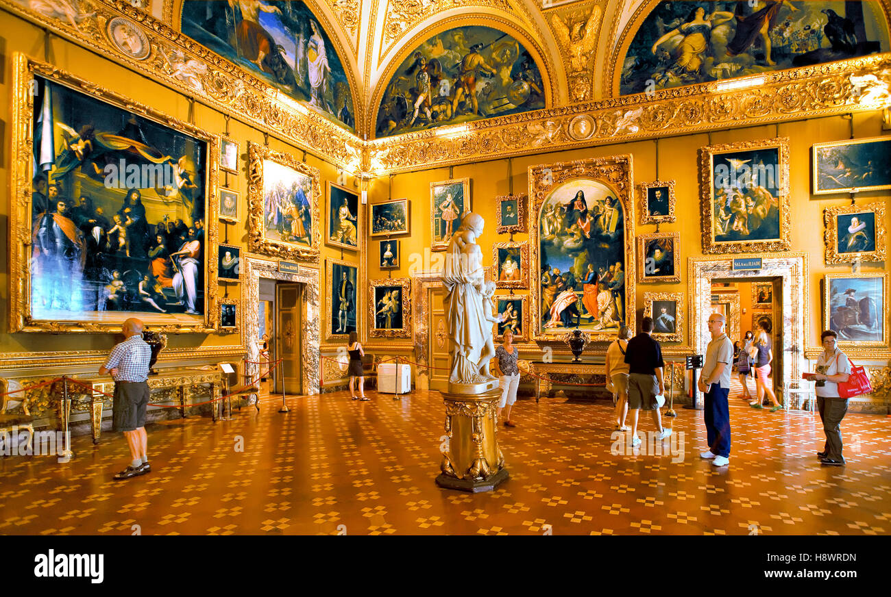 The Palatine Gallery in Pitti palace at Florence , Italy - Stock Image