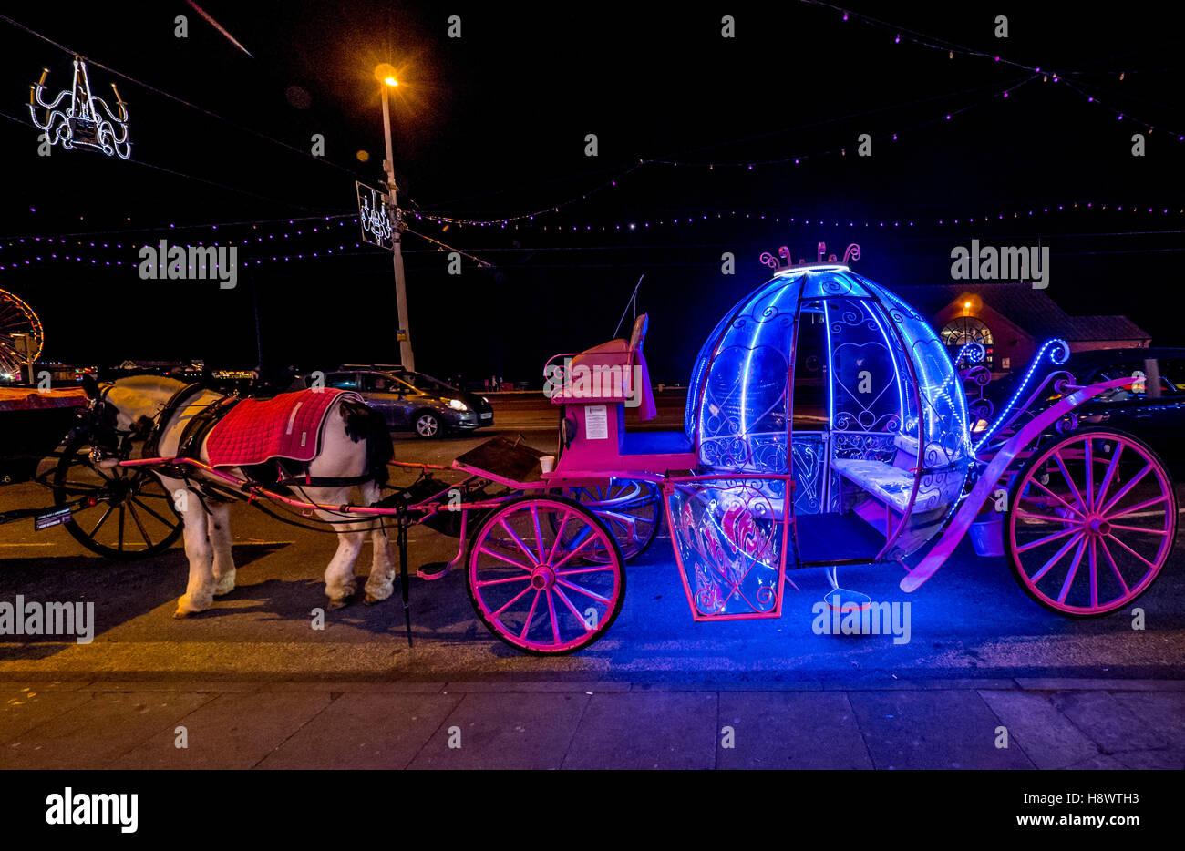 Illuminated fairytale horse and carriage at Blackpool illuminations, Lancashire, UK. - Stock Image