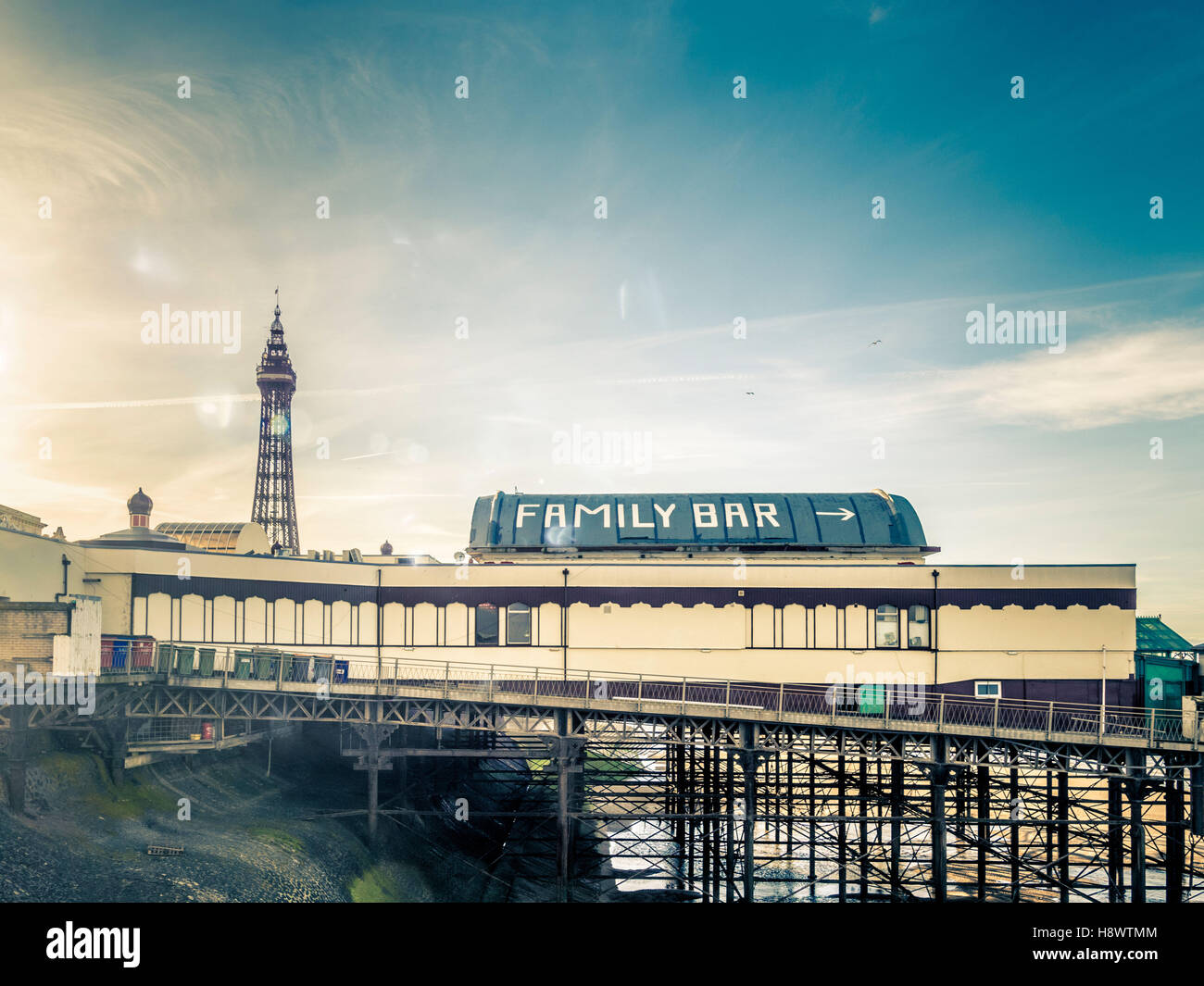 Family Bar sign on North Pier with Tower in distance, Blackpool, Lancashire, UK. Stock Photo
