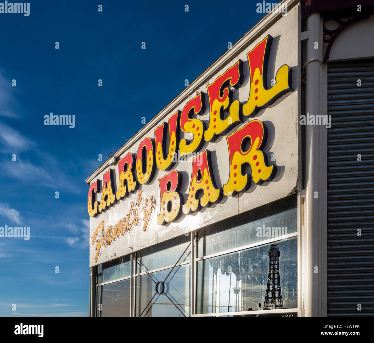 Carousel Family Bar sign on North Pier, Blackpool, Lancashire, UK. - Stock Image