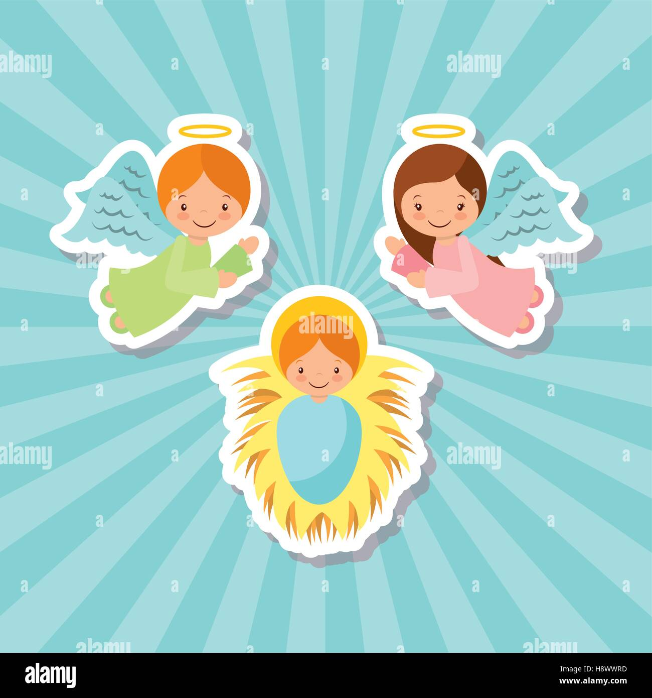 Cartoon Angels With Baby Jesus Characters Over Blue Background Vector Illustration