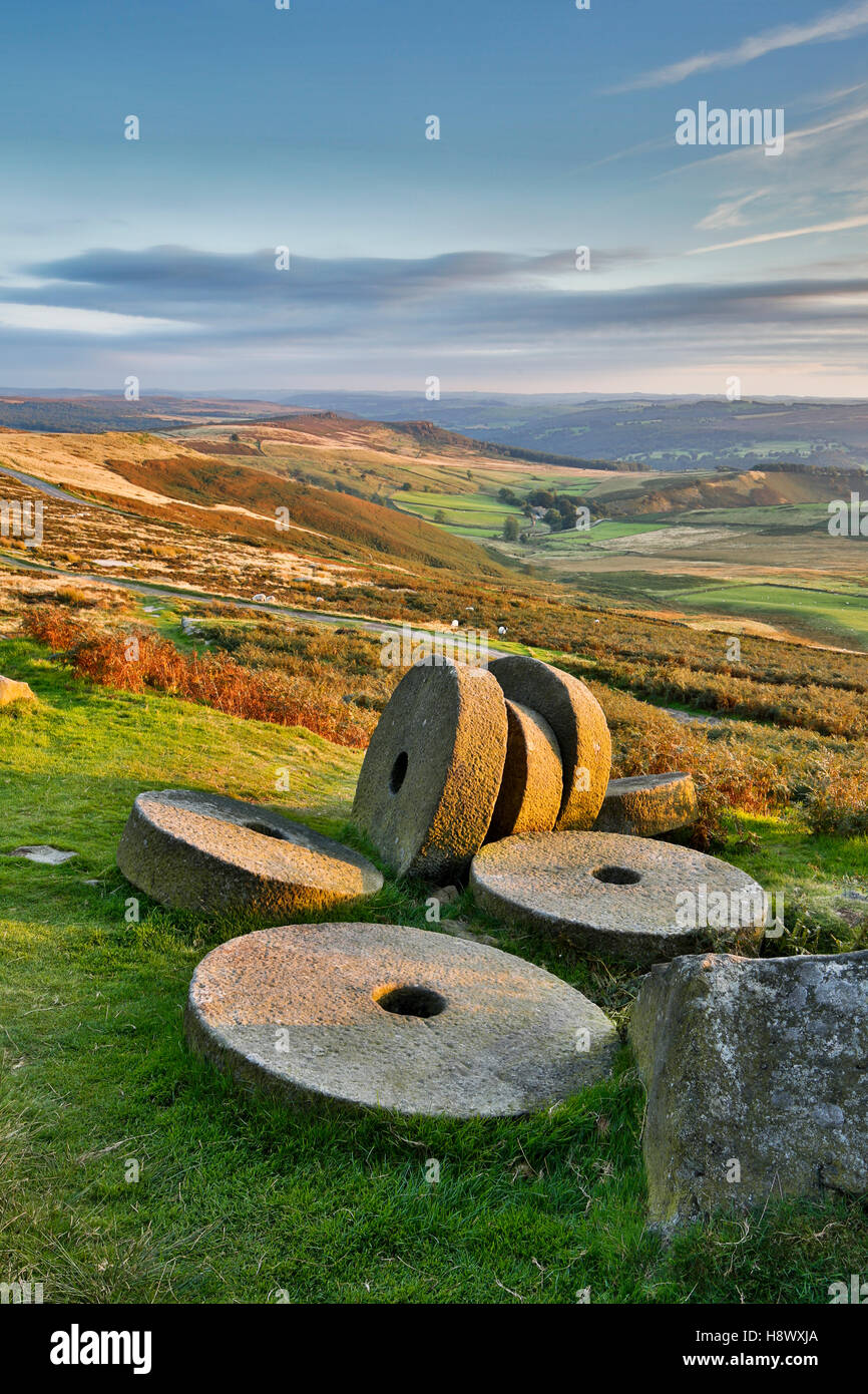 Stanage Edge; Millstones; Sunset; Peak District; UK - Stock Image