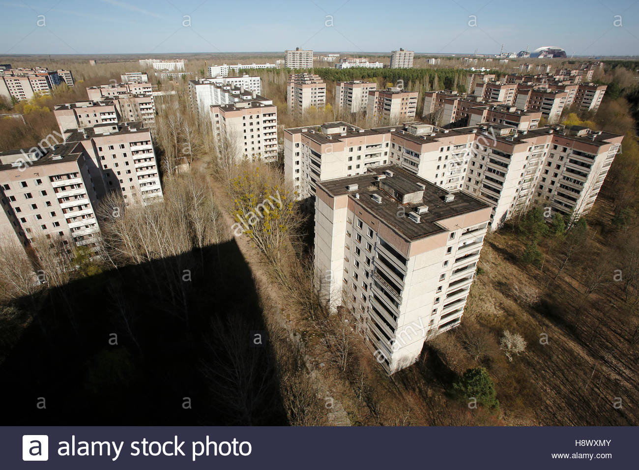 Ghost town of Pripyat and Chernobyl - Ukraine - Stock Image