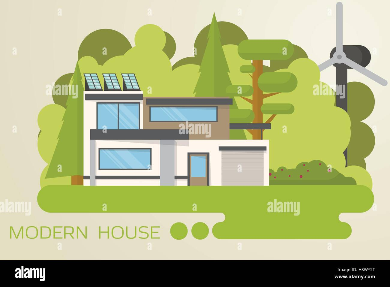 Contemporary, eco house design in the wood with solar panels and wind turbine. - Stock Vector