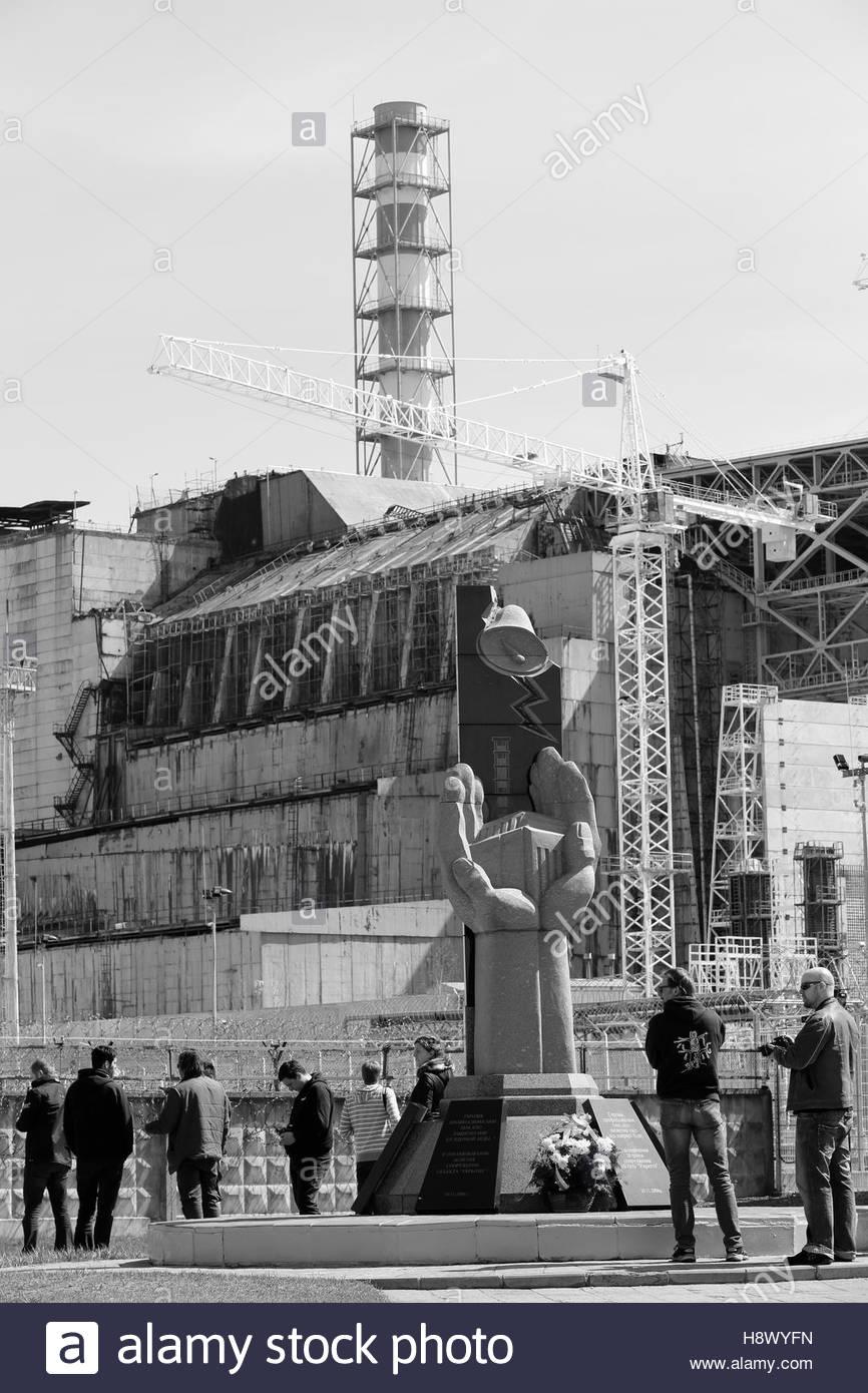 Reactor No. 4 of the Chernobyl power plant - Ukraine - Stock Image