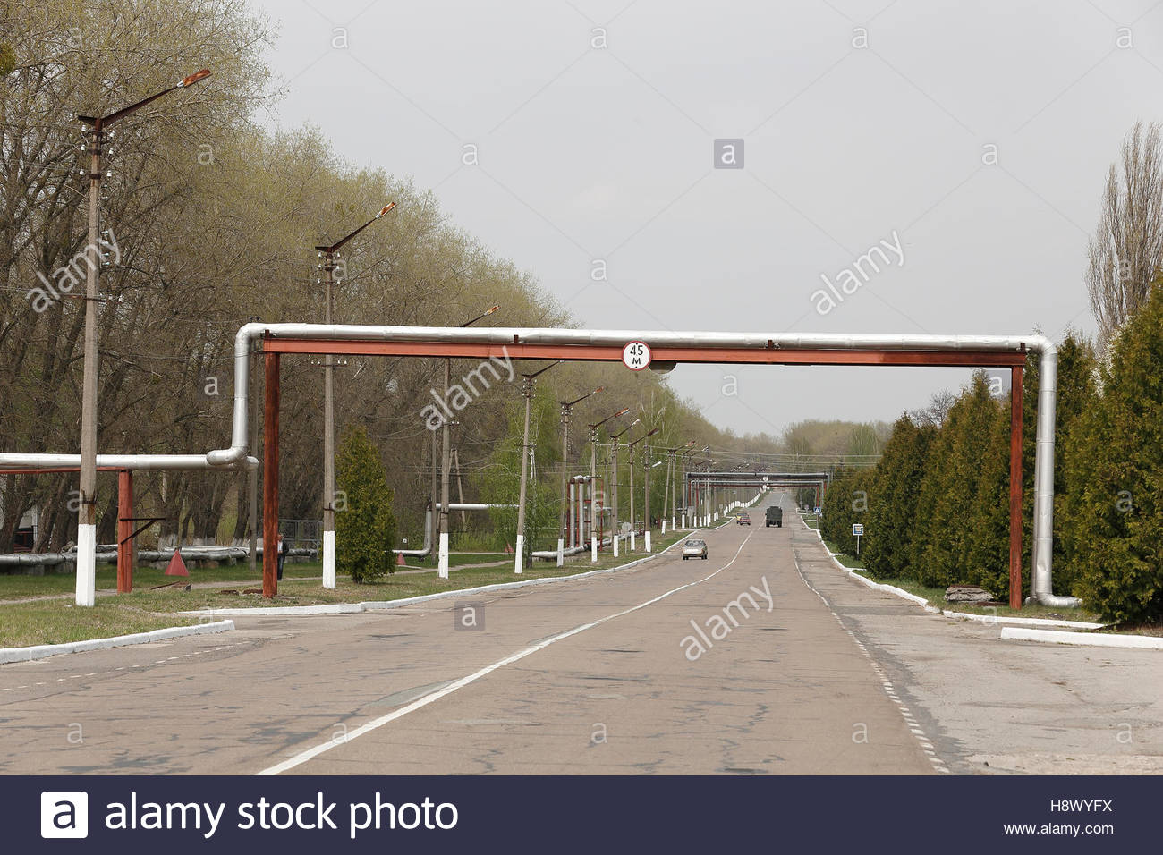 Main street of the city of Chernobyl - Ukraine - Stock Image