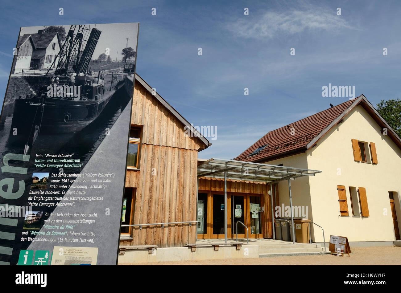 lock keeper house Canal de Huningue - Alsace France Stock Photo