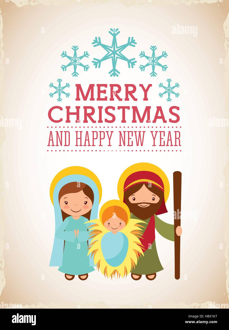 card of holy family manger scene merry christmas and happy new year colorful design vector illustration