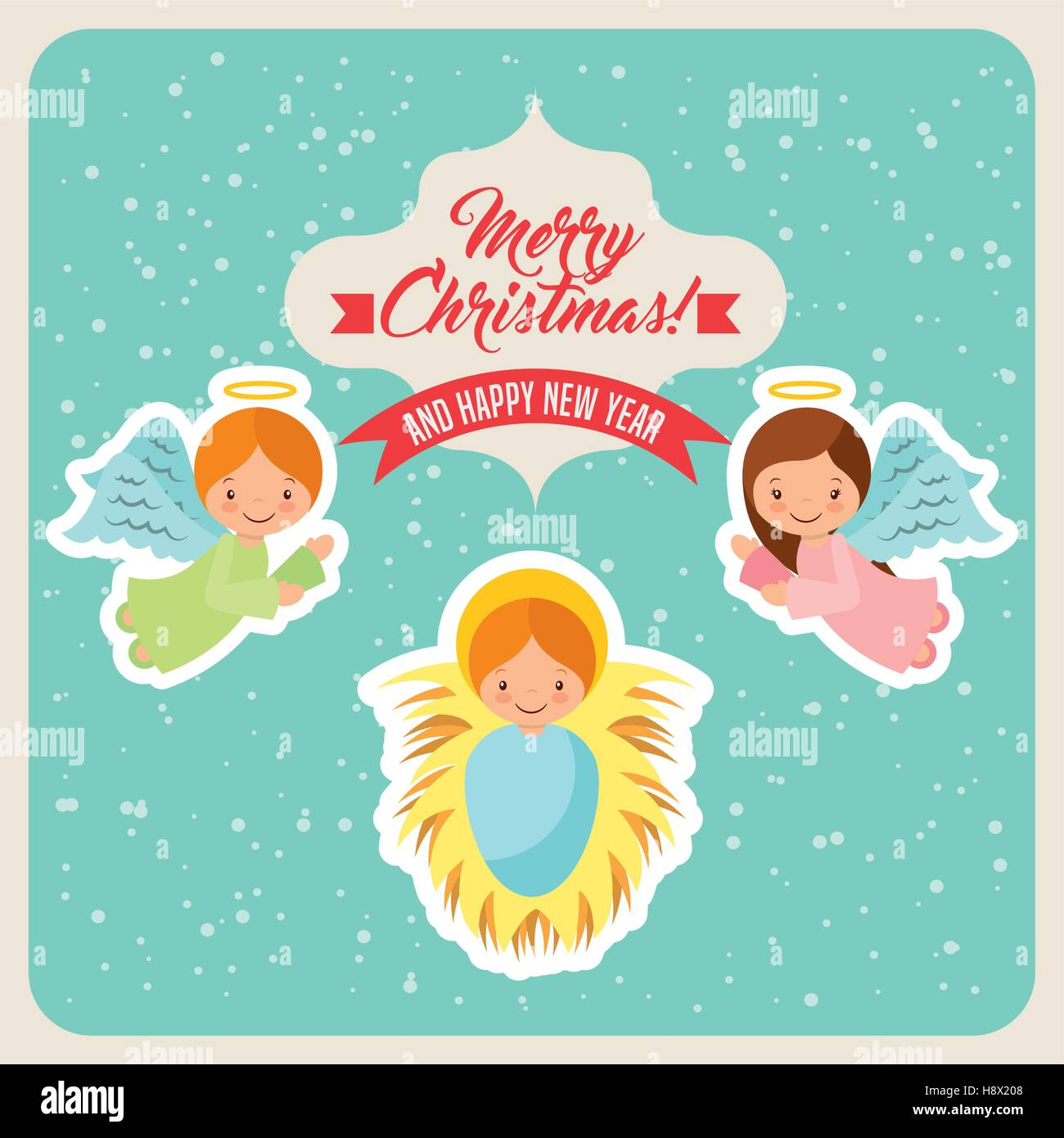 cartoon cute angels and baby jesus icon card of merry christmas and happy new year design vector illustration