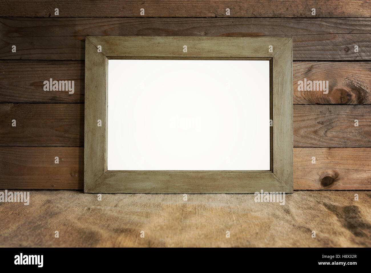Rustic frame mockup scene with wooden background and burlap Stock ...