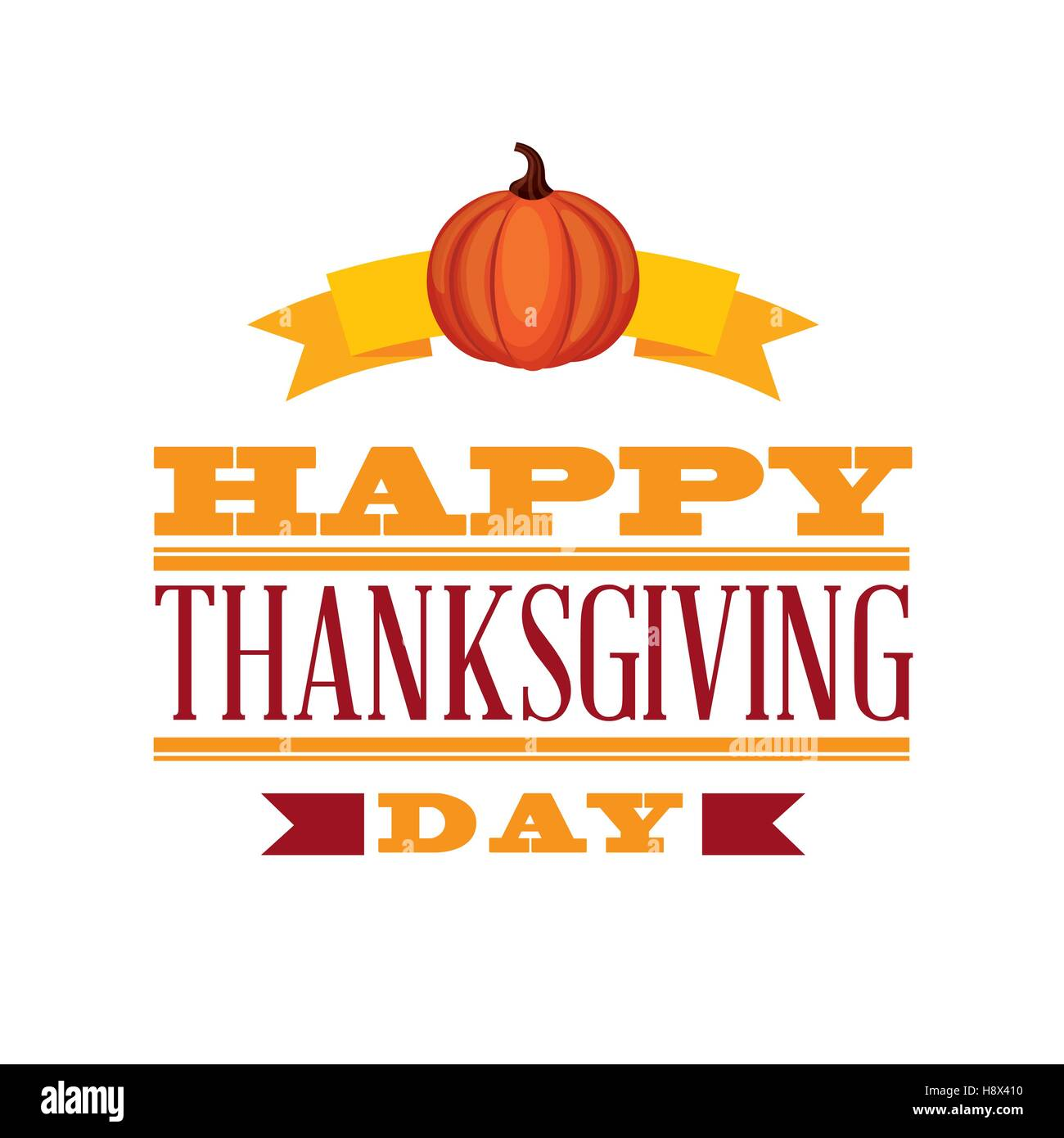 happy thanksgiving card iwth pumpkin icon over white background