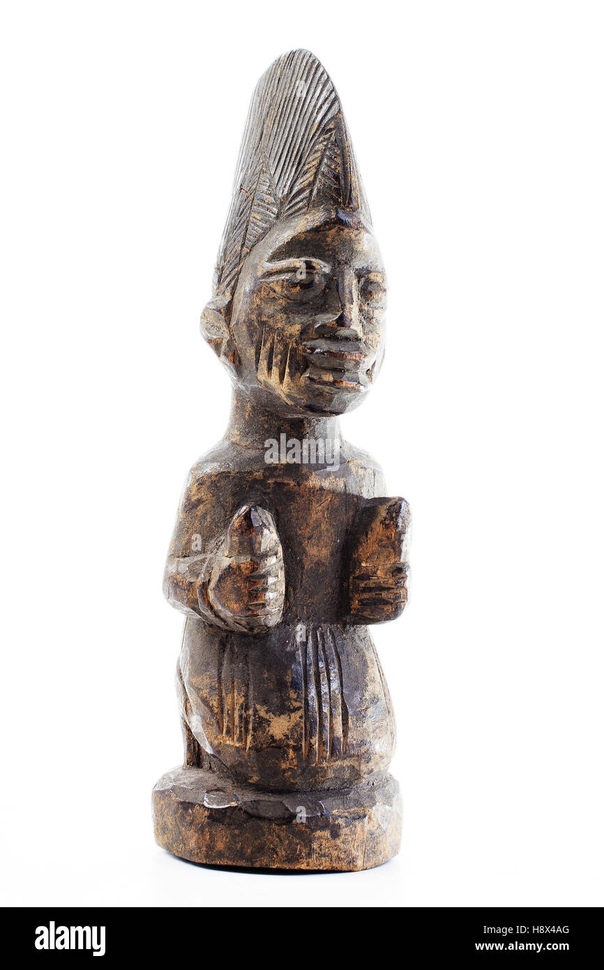 Antique wood wooden statue fertility totem native indigoneous. Hand made expensive original african antique archetypal - Stock Image