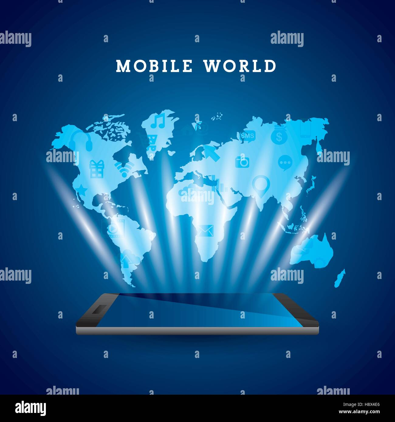 Smartphone devie with world map over blue background mobile world smartphone devie with world map over blue background mobile world design vector illustration gumiabroncs Images