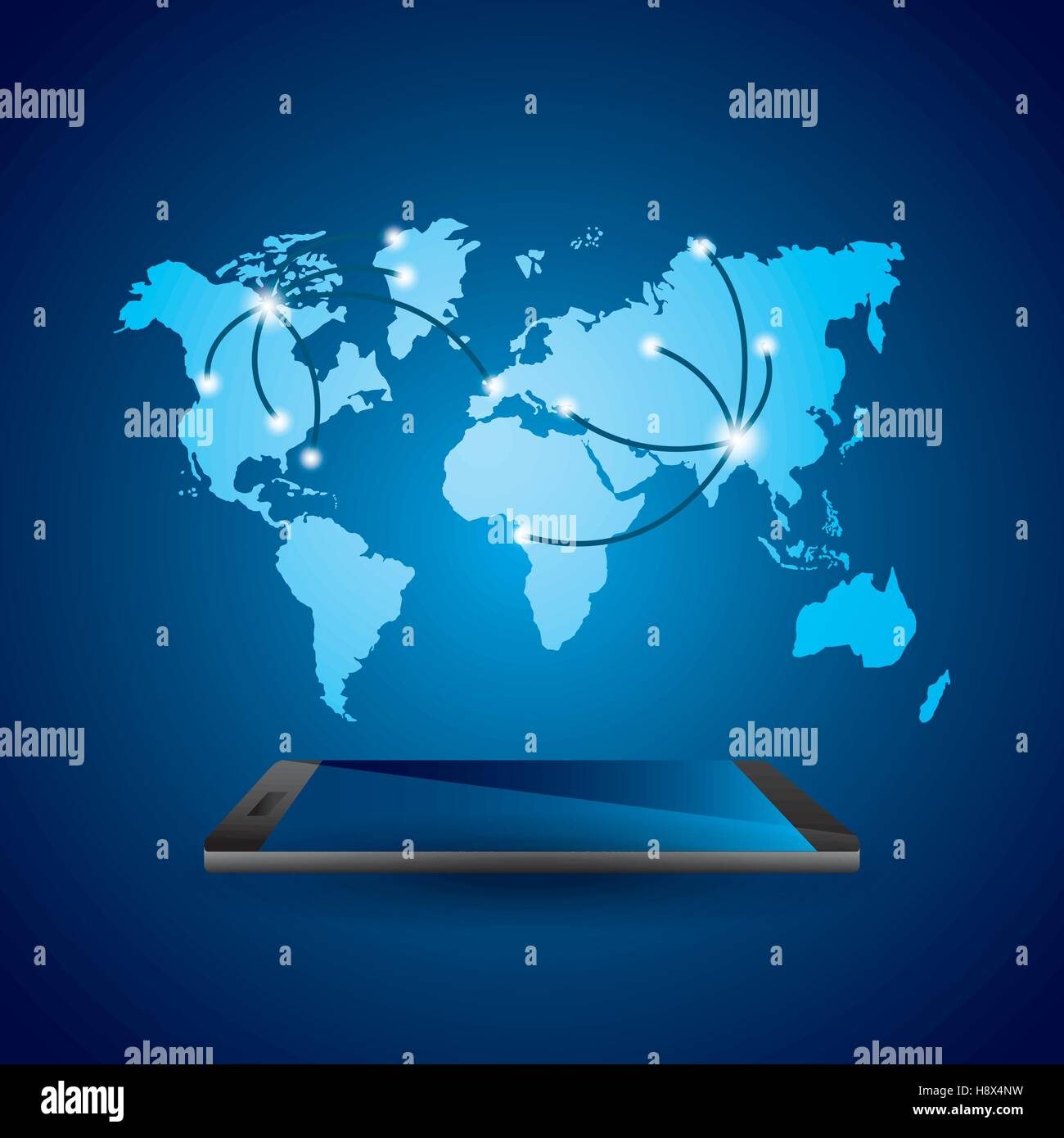 Smartphone devie with world map over blue background mobile world smartphone devie with world map over blue background mobile world design vector illustration gumiabroncs Image collections