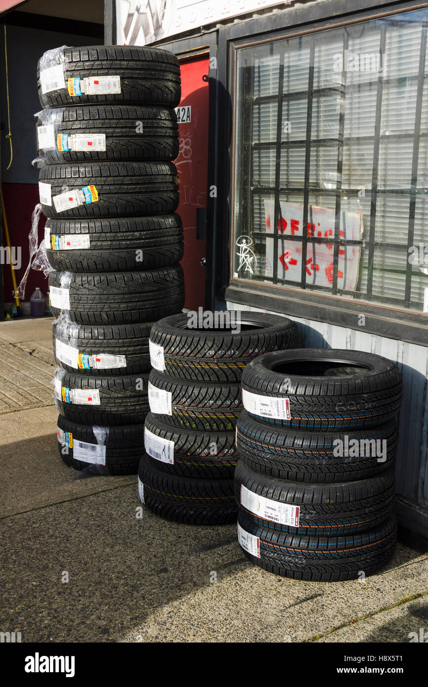 Winter and all-season car tires - Stock Image