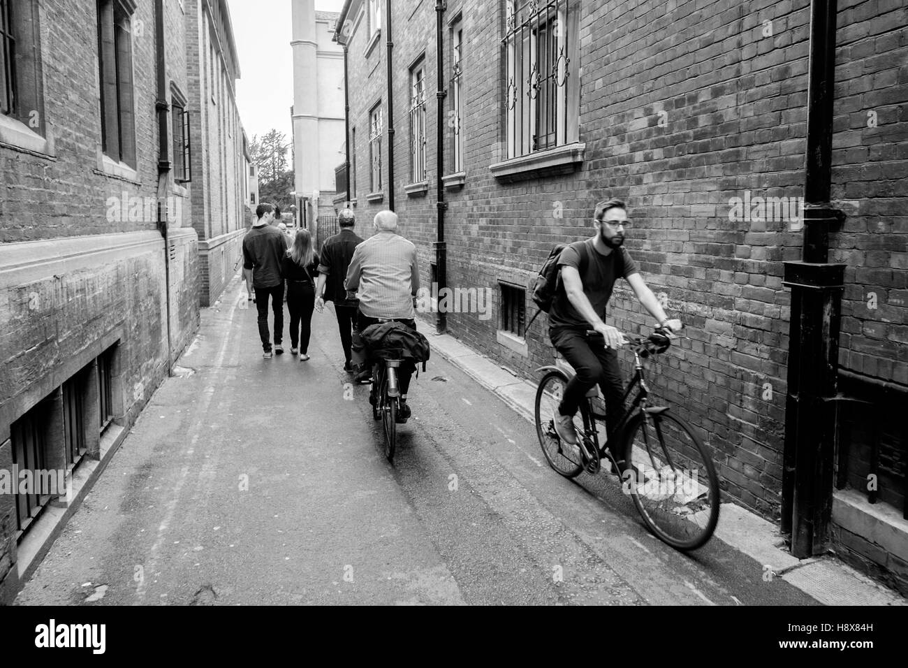 Cyclist cambridge alley alleyway back road wide angle black and white bearded hipster - Stock Image