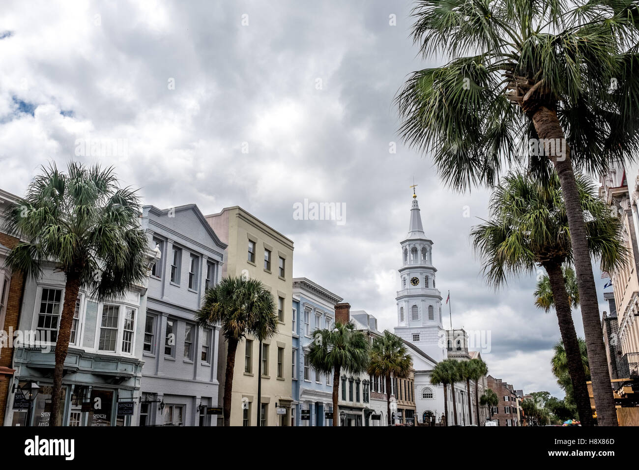 Broad Street Charleston South Carolina building southern frontage architecture old south - Stock Image
