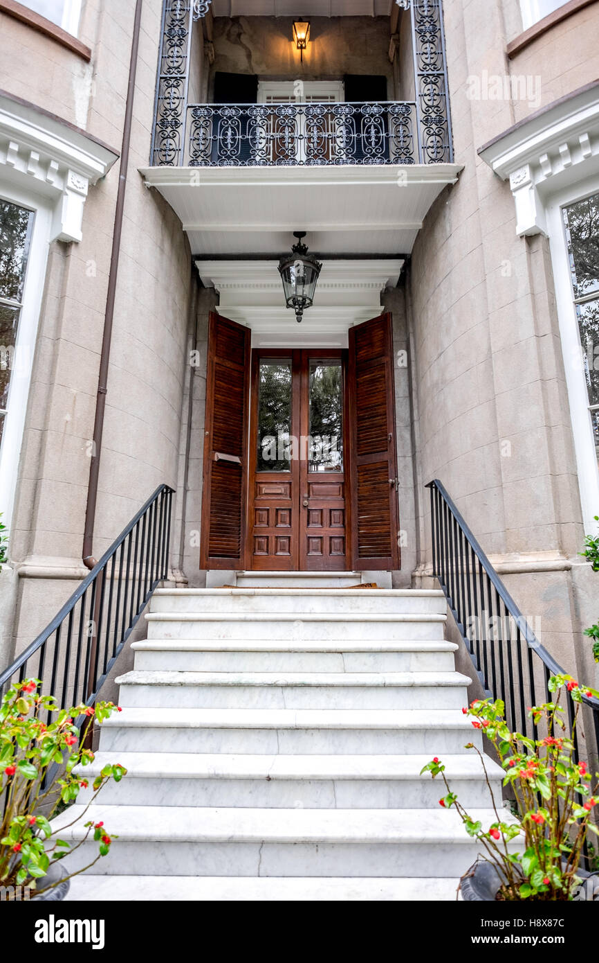 Charleston South Carolina SC Wooden Door Marble Steps Front ...